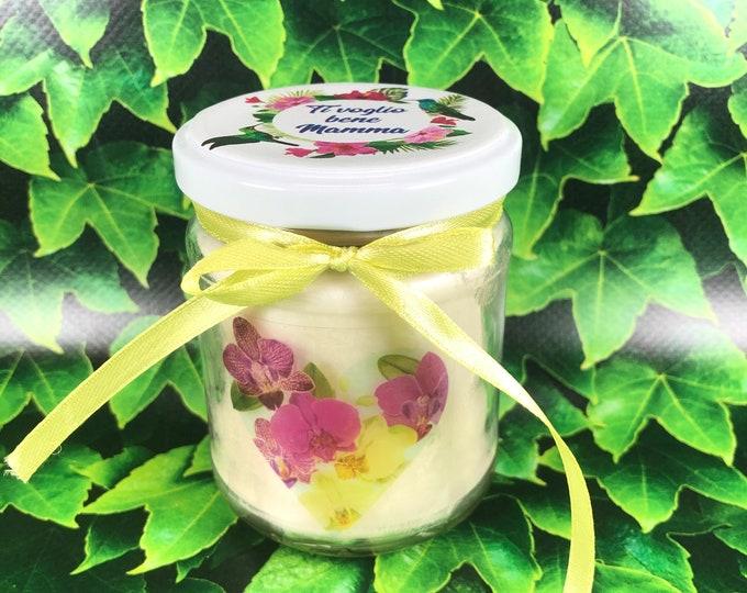 Fiori per la mamma candela personalizzata in cera di soia e olio essenziale stoppino in legno idea regalo festa della mamma ti voglio bene