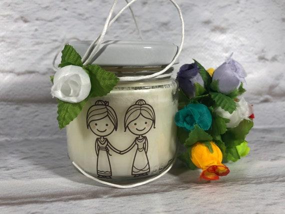 Bomboniera o sacchetto Matrimonio Coppia Gay Unioni Civili (F+F) 25 vasetti confezionati (scritta sull'etichetta, sacchetto, confetti)