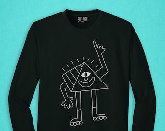 Long Sleeved Black T-shirt - Pyramid Eye