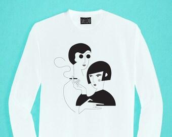 Long Sleeved White T-shirt - Ladies