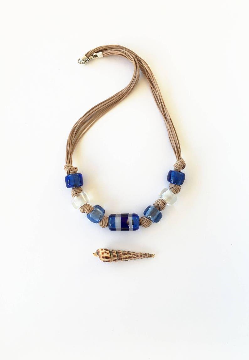 d43e1a4595b3 Collar vidrio azul. Collar cristal de Murano. Collar cuentas