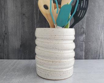 Handmade ceramic utensil holder, utensil crock, Kitchen utensil holder, Pottery vessel, Planter, vase, Wine Chiller, Speckled White Pot
