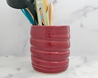 Handmade ceramic utensil holder, utensil crock, Kitchen utensil holder, Pottery vessel, Planter, vase, Wine Chiller, Red Raspberry