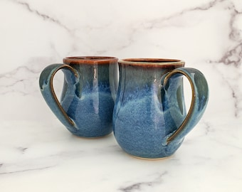 Coffee Cup, Coffee Mug, Glazed Mug, Handmade Ceramic Mug, Wheel thrown coffee or tea mug, Blue Glaze with Waterfall Rim
