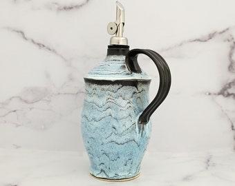Wheelthrown Ceramic Olive Oil Cruet, Olive Oil Bottle, Vinegar Bottle, EVOO Dispenser, Handled Olive Oil Pourer, Blue/Black
