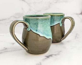 Coffee Cup, Coffee Mug, Glazed Mug, Handmade Ceramic Mug, Wheel thrown coffee or tea mug, Transparent smoke glaze with Seafoam Rim