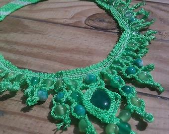 JADE MACRAME NECKLACE  Handmade Green Jade Natural Beads