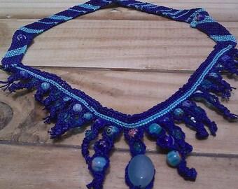 BLUE JADE MACRAME Necklace Millefiori Blue