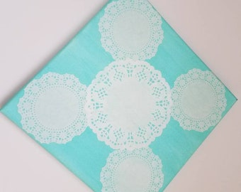 Canvas Doily Wall Art, Turquoise Canvas with Doily
