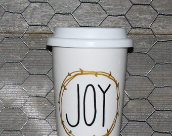 JOY Mug. Hand Lettered. Christmas Mug.