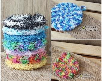 ALÉATOIRE exfoliating sponge for body or surfaces and the color at random color / RANDOM COLOR - Zero waste, washable