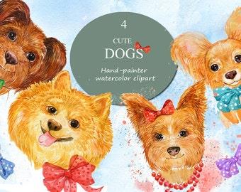 Watercolor prints. Cute dogs. Illustration painted with watercolors .Watercolor clipart.Pets watercolor
