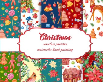 Christmas patterns watercolor.  Christmas Backgrounds.Christmas Paper Pack.Seamless Paper.