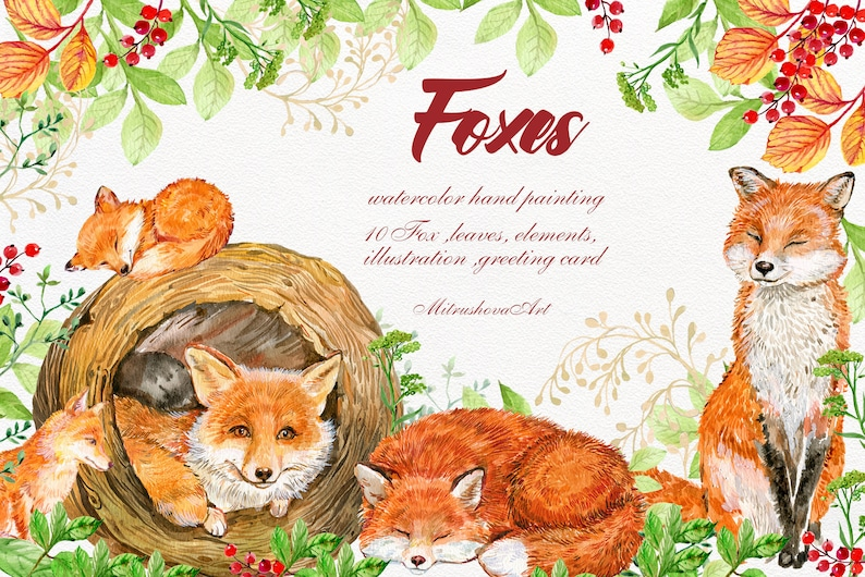 Fox Animals Clipart .Watercolor Painting baby Fox illustration,Animal kids,Animal forest Forest Animals Woodland Little Animals Clip art