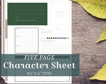 2018 Novel Character Bio Mini Info Sheet National Writing