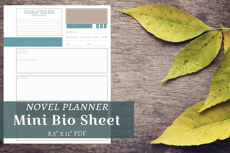 Novel Character Bio   Mini Info Sheet   National Writing Month    family,writing,author,inspiration,worksheet,planner,form