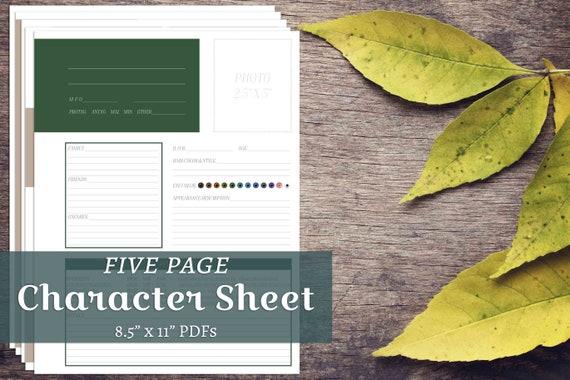 Novel Character Bio Full Info Sheet Biography