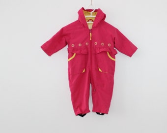 53da3c88c1 Pink Yellow Ski Suit All in One 80 S Kids Unisex Overall Bib Ski Suit  Hipster Baby Outdoor Wear Winter Retro Snowsuit Size 50 Colored Jumper
