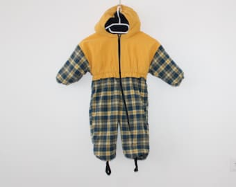 37152aaa5 Vintage Kids Outdoor Overalls Blue Yellow Childrens Autumn One Piece  Overalls BIB Activewear Suit Cotton Blend Baby All in One Suit Overall