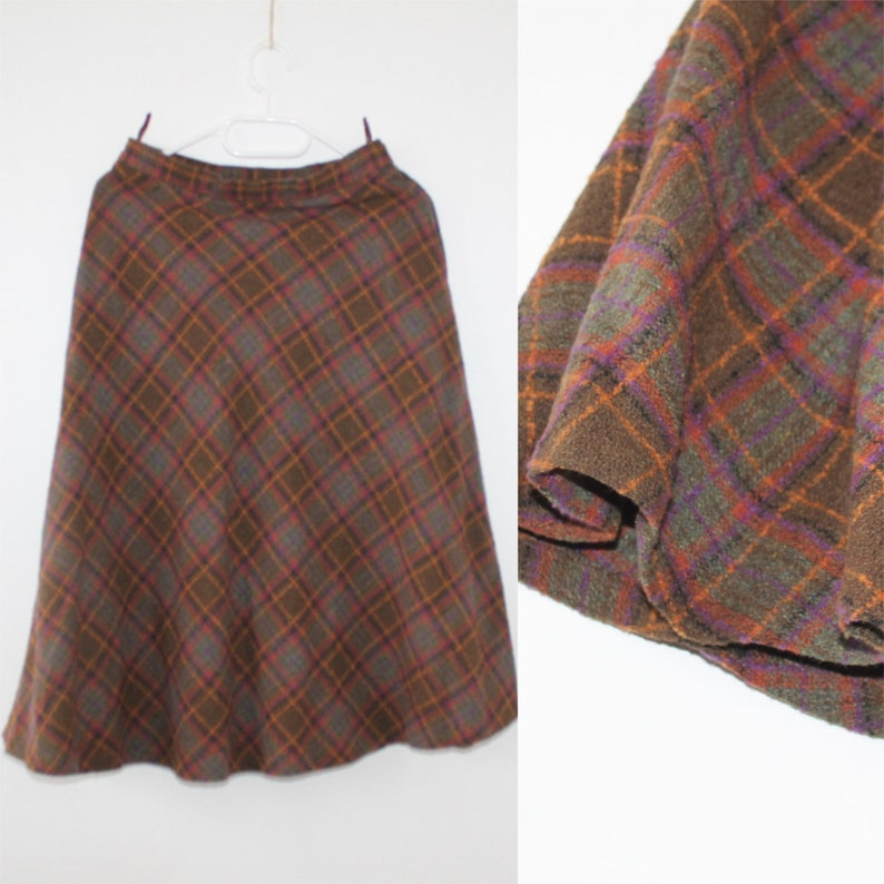 c1a8e3b01 Wool blend W27 L29 Vintage 80s Tartan Skirt A line Midi Over | Etsy