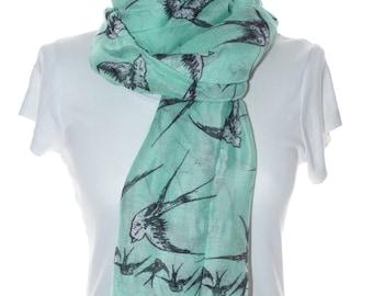 Mint swallow bird Scarf shawl, Beach Wrap, Cowl Scarf,swallow bird print scarf, cotton scarf, gifts for her