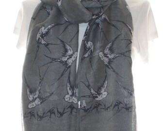 Grey swallow bird Scarf shawl, Beach Wrap, Cowl Scarf,swallow bird print scarf, cotton scarf, gifts for her