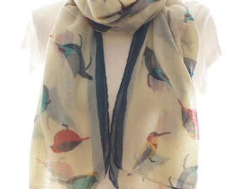 Cream bird Scarf shawl, Beach Wrap, Cowl Scarf,cream bird print scarf, cotton scarf, gifts for her