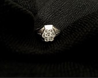 Precious CZ Multi-Stone Edwardian Inspired Ring