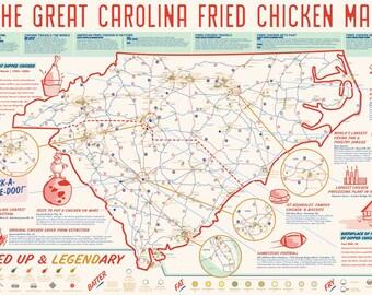 Carolina Fried Chicken Map // POSTER
