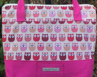 cloth bag with closure / tote any leisure race red owl red plum girl woman gift canvas shoulder bag lined