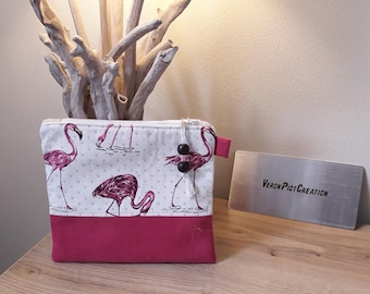 flat clutch veronpiotcreation clutch Flamingo Pink cotton Interior organizer bag storage mother of mothers women handmade gift