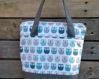 Cotton OWL fabric zipper for storage, books, grocery, small groceries veronpiotcreation