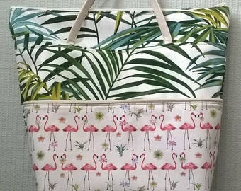 canvas hand bag pocket before woman girl cotton pink Flamingo and Palm tree zip Tote free holiday gift MOM