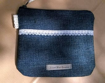 Denim and cotton make up storage pouch mobile cell phone Pocket zipper veronpiotcreation
