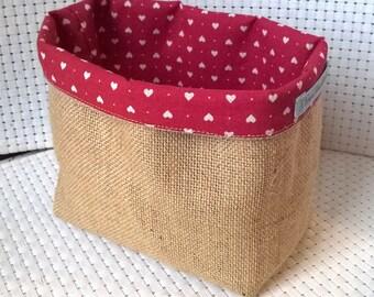 empty basket Pocket pouch burlap veronpiotcreation beige red pink heart storage decor nature wedding anniversary gift