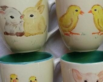 Baby animals mug Large ceramic mug holds 2-1/2 cups coffee cup kitten ducklings bunnies spring chicks light jade green seafoam mug cups gift