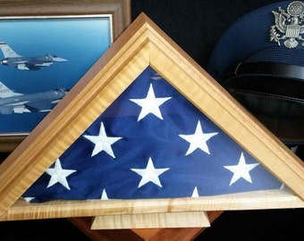 Flag Display Case for retirement or eagle scout ceremony U.S. 5x7 flag, maple oak or cherry wood triangular box, formal military retirement