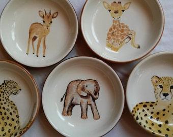 African animal safari cheetah baby giraffe leopard bowls antelope colorful ceramics elephant dish guacamole salad bowl popcorn bowl art