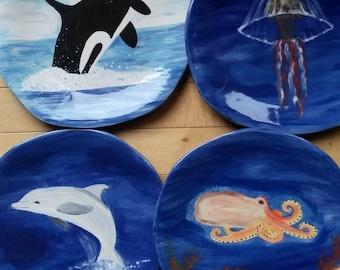Ocean plates sea life plates turtle dish jellyfish plate dolphin plates tropical killer whale colorful marine sea life dish octopus plates