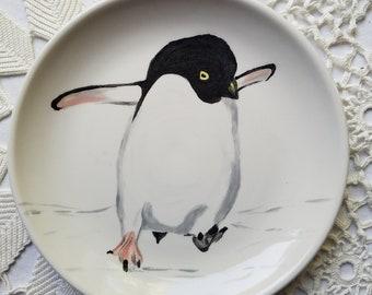 Animal plate penguin plate, Hedgehog, sloth plate, polar bear, snow leopard, large ceramic mug coffee cup animal lover plate colorful gift