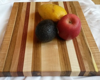 """13 x 11"""" honey locust solid hardwood striped Cutting Board curly maple cherry mahogany excellent joinery popular colorful housewarming gift"""