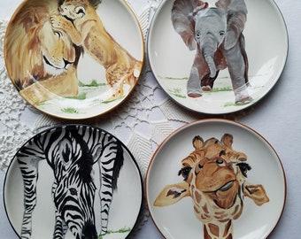 African animal plate cheetah plate baby giraffe plate antelope plate colorful ceramics elephant dish savannah lover zebra  antelope gift