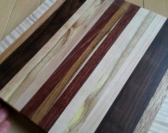Honey locust and curly maple Hors d'oevres platter 12 inch cutting board solid dense hard woods beautiful colored stripes housewarming gift
