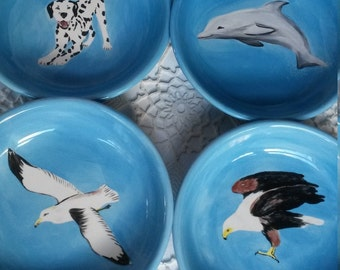 Bald Eagle Seagull Dolphin Dalmation puppy Pouncing Tabby Cat gift bowl dog lover turquoise light blue bowl large shallow bowl plate bird