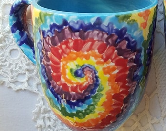 Tie Dye mug large ceramic mug big coffee cup rainbow tie dye rainbow design colorful mug bright colors spiral sky blue rainbow color gift