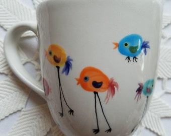 Rainbow mugs large ceramic mug big coffee cup rainbow polka dots rainbow heart colorful birds mugs rainbow stripe designs bright colors gift