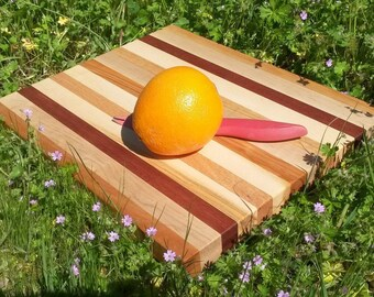 """Solid wood cutting board hardwood display board wooden art block excellent joinery 14 x 12"""" functional beautiful color stripes maple cherry"""
