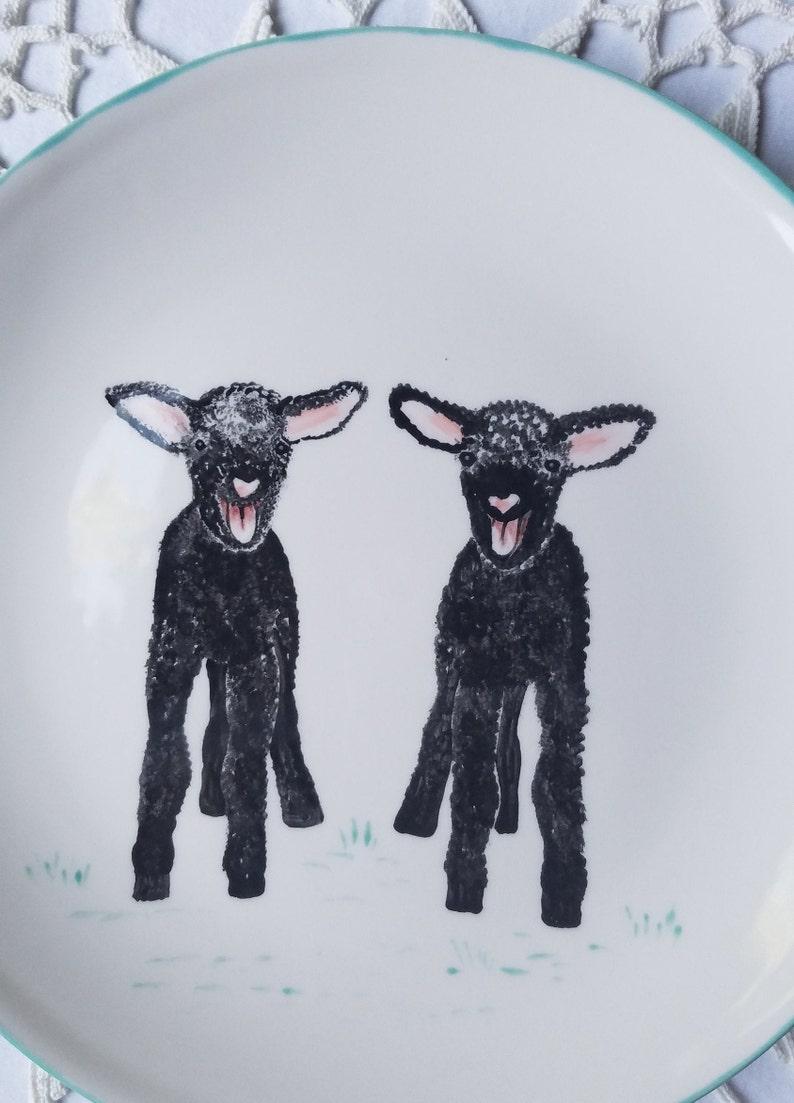 Farm animals Dwarf Nigerian goat plate animal lovers barnyard farm animal gift bearded goat colorful goat gift made to order custom pet gift