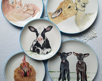 Farm animal plates Pink pig barnyard gift lamb plate horse plate llama dinner plate pig lover gift farm gift chicken rooster plate cow calf