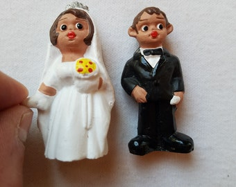 Wedding cake topper, wedding couple figurines, bow tie black suit, white wedding dress, wedding gift, anniversary remembrance, happy couple
